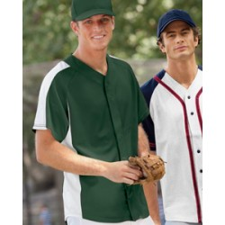 T2207 Champion Pieced Mesh Button-Front Baseball Jersey