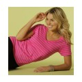 8823 Anvil Ladies' Striped V-Neck T-Shirt