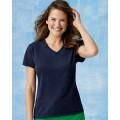 S04V Hanes Ladies' 4.5 oz. 100 Ringspun Cotton nano-T V-Neck T-Shirt